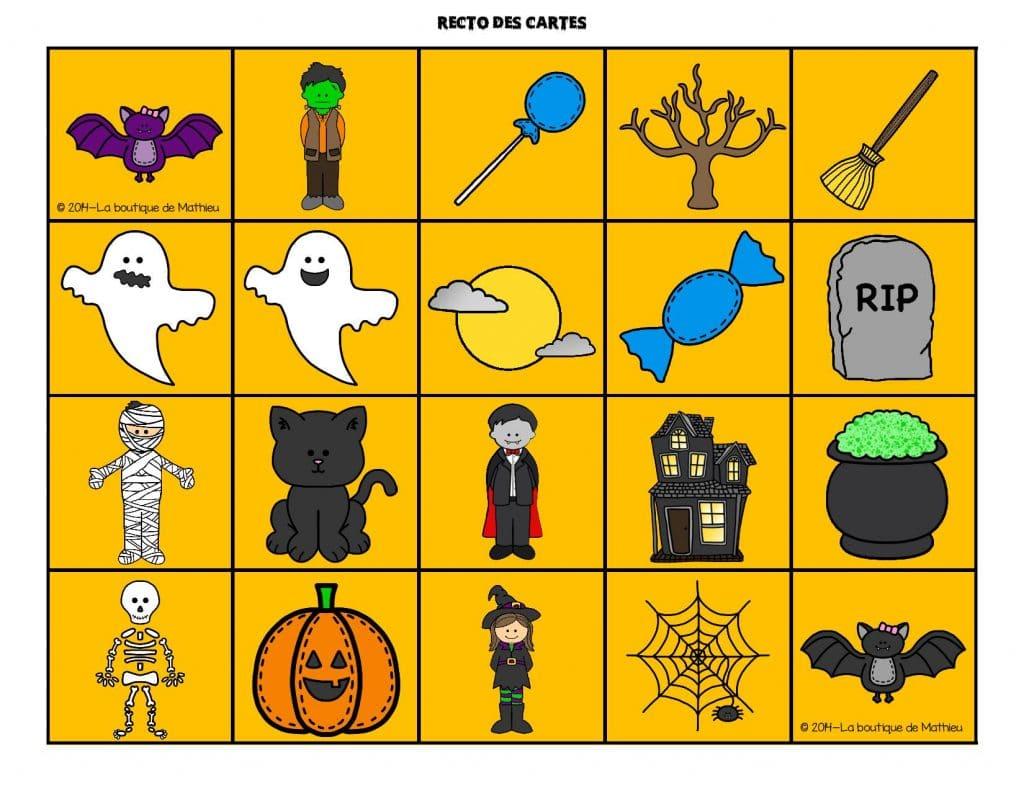 Jeu de mémoire de l'Halloween (memory) - La boutique de Mathieu - Ressources pédagogiques pour ...