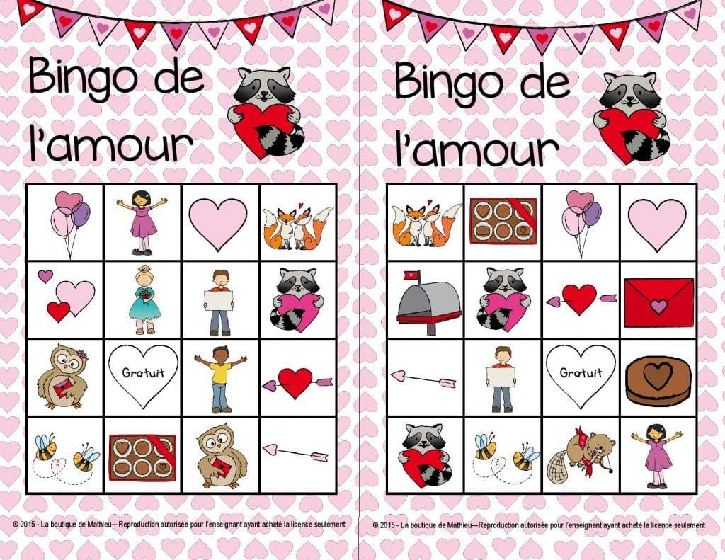 gatonsnosenseignants bingo de la st valentin 24 cartes diff rentes la boutique de mathieu. Black Bedroom Furniture Sets. Home Design Ideas
