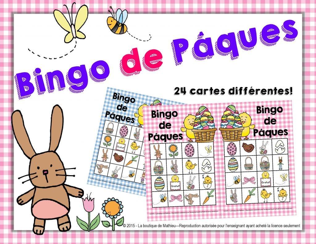 Bingo de p ques 24 cartes diff rentes la boutique de mathieu ressources p dagogiques pour - Grille de bingo a imprimer gratuit ...