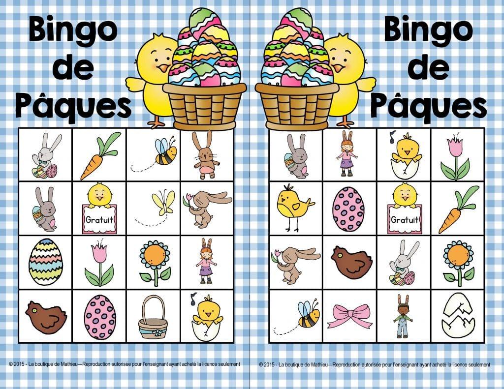 bingo de p ques 24 cartes diff rentes la boutique de mathieu ressources p dagogiques pour. Black Bedroom Furniture Sets. Home Design Ideas