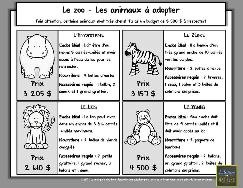 3e Cycle >> Résoudre une situation-problème : Le zoo (3e année du primaire) – La boutique de Mathieu ...