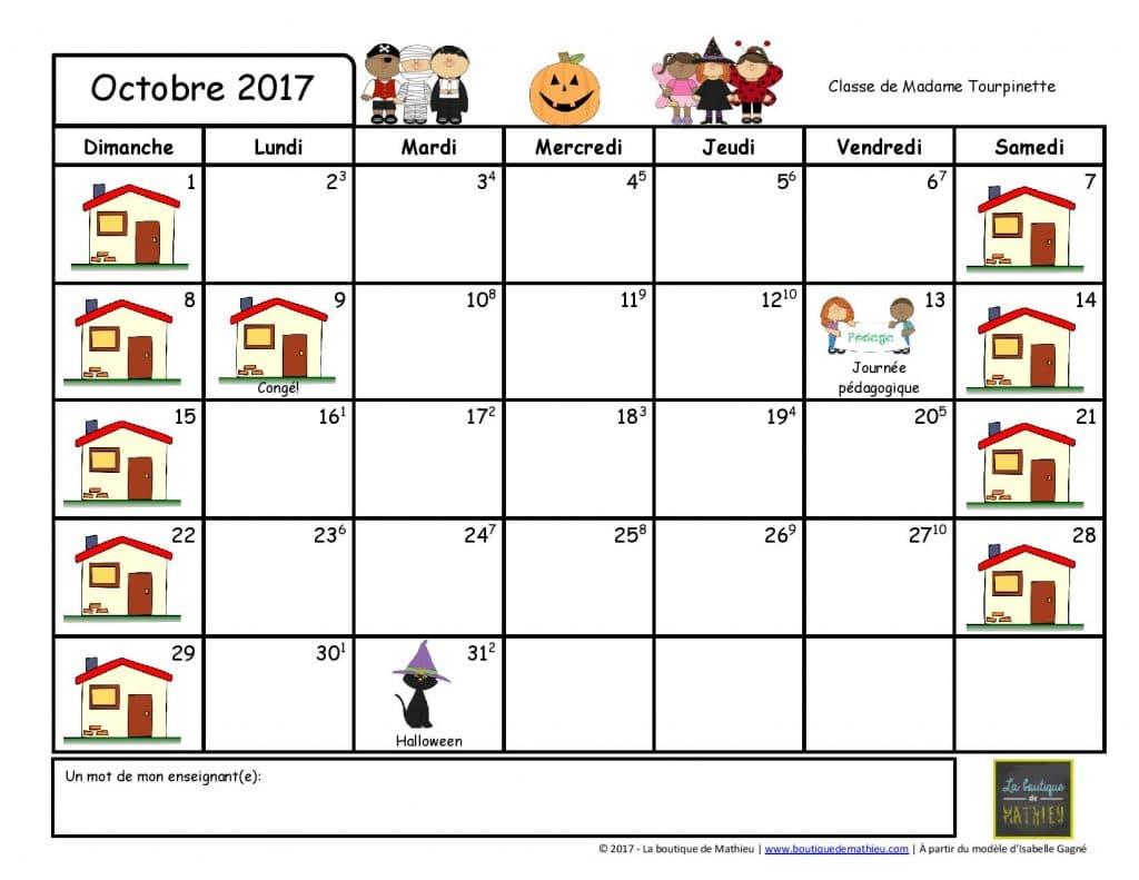 calendriers du mois pour les parents ao t 2017 juin 2018 la boutique de mathieu. Black Bedroom Furniture Sets. Home Design Ideas