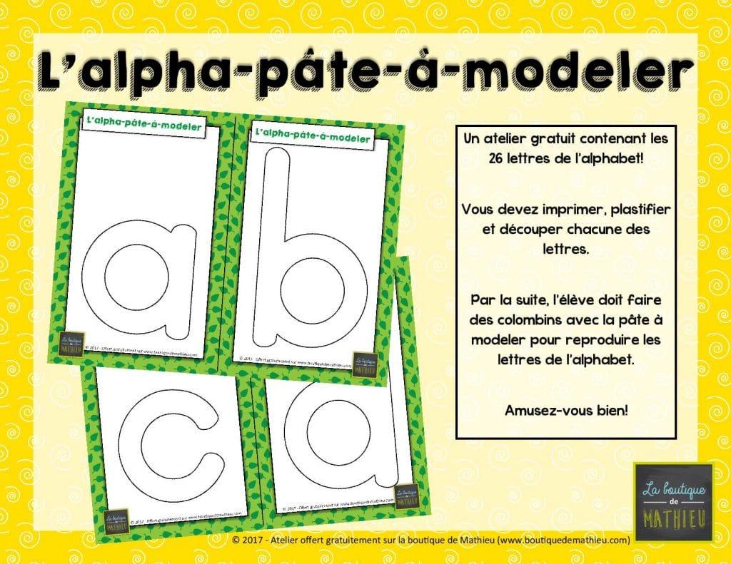 L alpha p te modeler atelier gratuit la boutique de - Alphabet a decouper gratuit ...