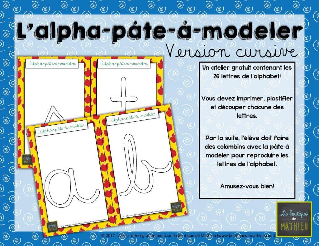 L alpha p te modeler version lettres cursives la - Alphabet a decouper gratuit ...