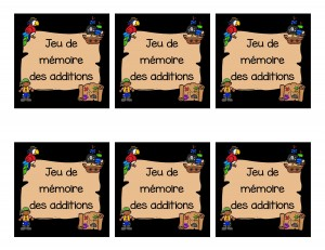Jeu de mémoire (memory) des additions (pirates)
