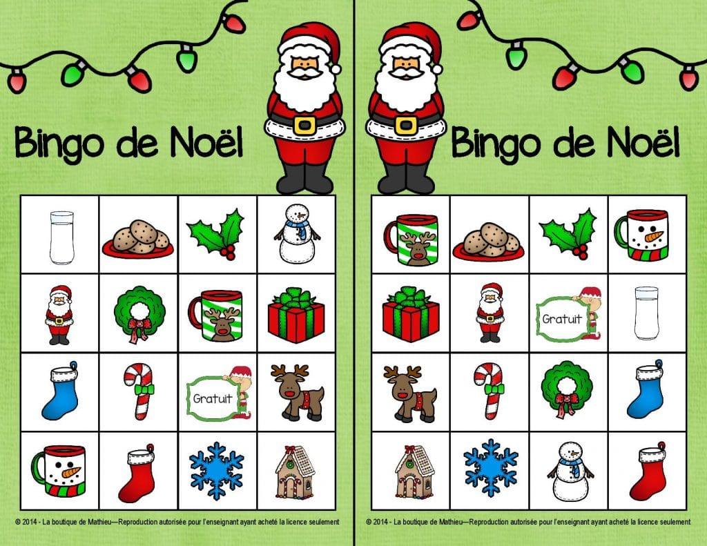 bingo de no l 24 cartes diff rentes la boutique de mathieu ressources p dagogiques pour. Black Bedroom Furniture Sets. Home Design Ideas