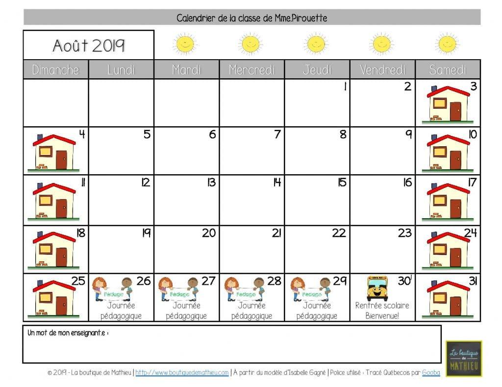 Calendrier Mois Aout 2019.Calendriers Du Mois Pour Les Parents Aout 2019 A Juillet
