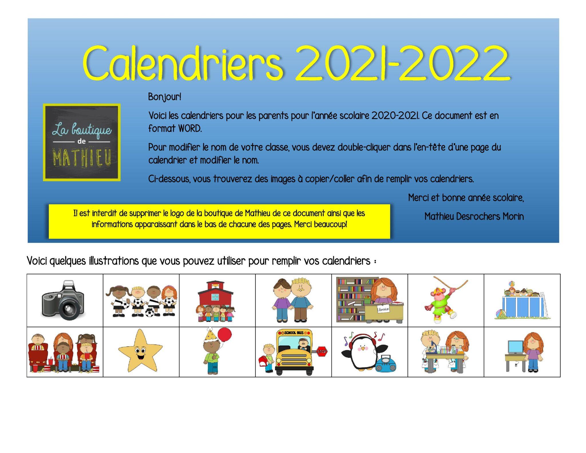 Calendrier Du Mois De Juillet 2022 Calendriers du mois pour les parents (août 2021 à juillet 2022
